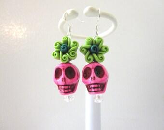 Day Of The Dead Earrings Sugar Skull Dangle Hot Pink Green Flower