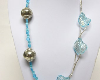 Blue Silver Necklace Glass Metal Leaves Long