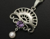 SALE: Arch and scroll with amethyst and cultured peal pendant