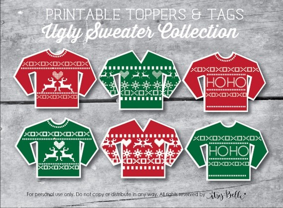 Ugly Sweater Printable Christmas Party Toppers