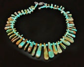 Turquoise Necklace - Tribal Fan Necklace with Stunning Natural Green Turquoise