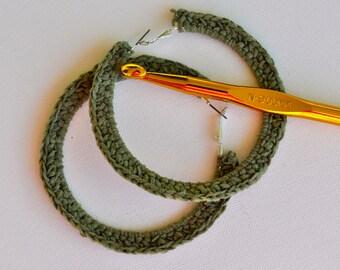"""MOSS - Moss Green Crochet Metal Hoops.  3"""" in width."""