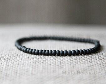 matte black mens bracelet - matte black vintage beads bracelet for men - mens bead bracelet matte black - black bead bracelet for men