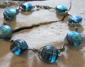 Vintage Sterling Silver Blue Carnival Glass Bracelet Art Deco Jewelry