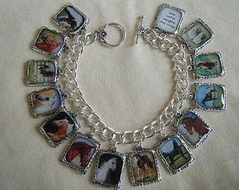 Horses Charm Bracelet  Altered Art Bracelet