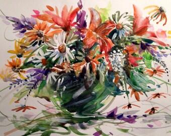 Summer Garden , 4 blank 5x7 beautiful garden flower cards