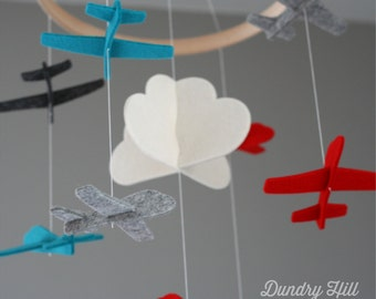 100% Merino Wool Felt Airplane Mobile - Eco-Friendly - Rich, Lightfast Colors - Heirloom Quality - Red, Teal, Charcoal and Gray Baby Mobile