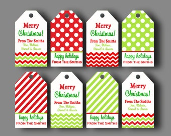 Personalized Christmas Gift Tags - Printable or Printed with FREE SHIPPING - Chevron Polka Dot Christmas Gift Tag