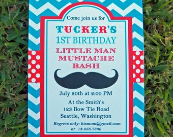 Little Man Mustache Invitation Printable or Printed with FREE SHIPPING - Mustache Bash for Birthday, Baby Shower, etc