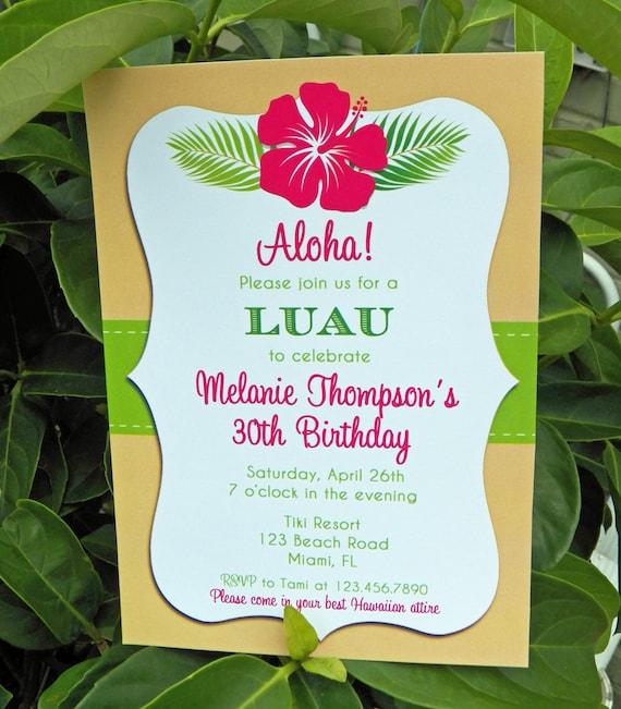 luau invitation printable or printed with free shipping