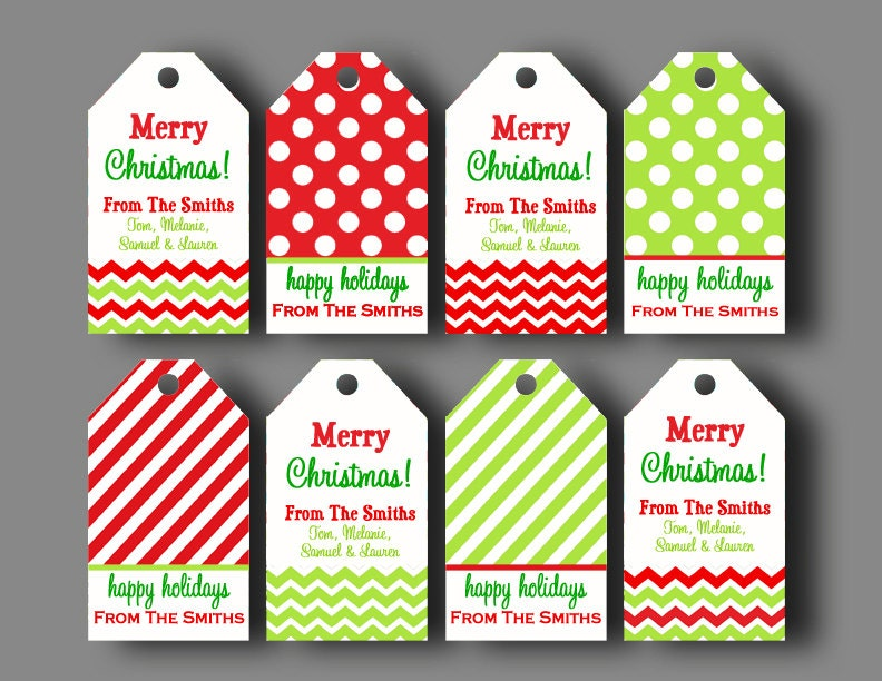 Personalized christmas gift tags printable or printed with zoom negle