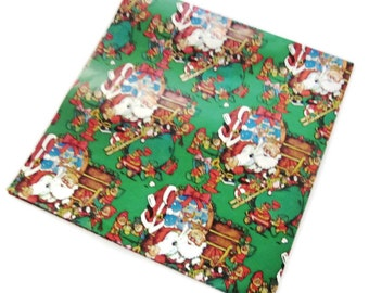 Vintage Wrapping Paper - Santa and his Elves at Christmas Eve - Full Sheet Gift Wrap