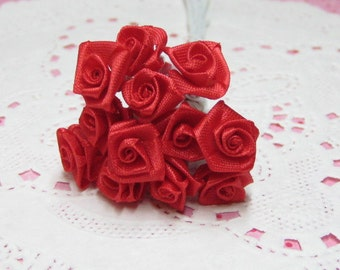 discounted seconds red miniature satin roses on wire stems B grade 8-10mm 1 dozen for crafting and scrapbooking
