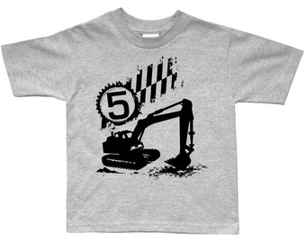 Digger Excavator Boys Birthday Construction shirt - Any Age! pick your colors!