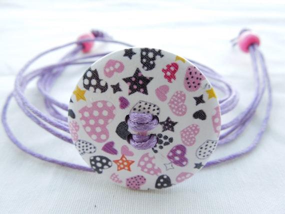 Wood bracelet, button bracelet, cord bracelet, purple bracelet, wood necklace, pink necklace, hearts bracelet, hearts necklace