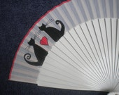 Hand Painted Wooden Hand Held Fan LOVE CATS - MTO Made to order Standard 24cm