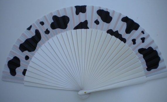 Cow Print Hand Fan SIZE OPTIONS Wooden Folding Handheld Fan Hand Painted by Kate Dengra Spain
