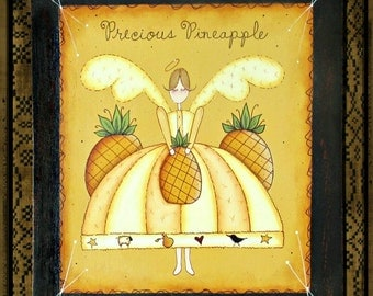 E PATTERN - Precious Pineapple Primitive Angel & Pennies too! Warm colors. Sharon Bond and Terrye French - FAAP