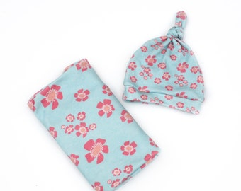 Baby Girl Floral Knotty Hat and Blanket - Blue with Coral and Light Pink Flowers -  Organic Baby Swaddle Blanket and Matching Hat