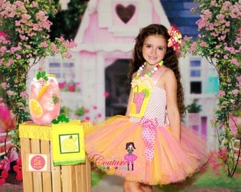 Pink lemonade tutu dress Ready to ship Size 5/6