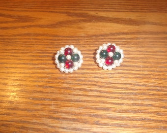 vintage clip on earrings bead clusters