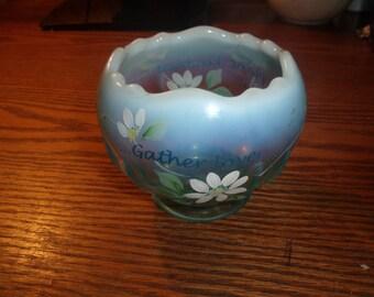 vintage handpainted fenton bowl planter blue opalescent