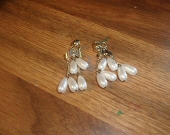 vintage clip on earrings goldtone faux pearl dangles