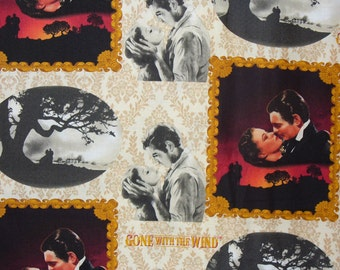 Gone with the Wind Fabric, Scarlett and Rhett, Realistic  Photos,  Realistic Scenes, Margaret Mitchell, Half Yard