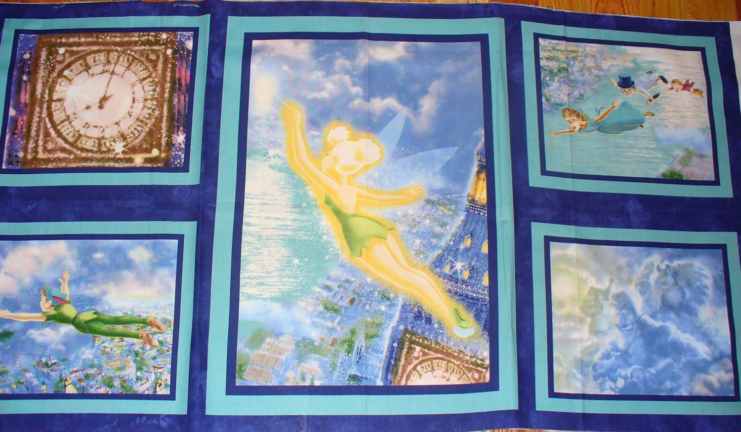 Peter pan fabric panel disney with thomas kincade