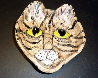 I LOVE KITTY'S tabby dish handmade in  U.S.from a lump of clay purrrrfect for jewelry, soap,or food