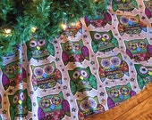 Owl Christmas Tree Skirt, Owl Decoration, Owls Tree Skirt, Retro Mod Owls, Holiday Owls, Xmas Tree Skirt, Holiday Decor, Owls Decor