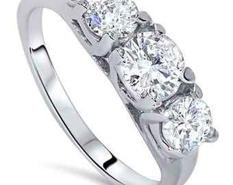 2.00CT Diamond 3-Stone Engagement Anniversary Past Present Future Ring 14K White Gold Size 4-9