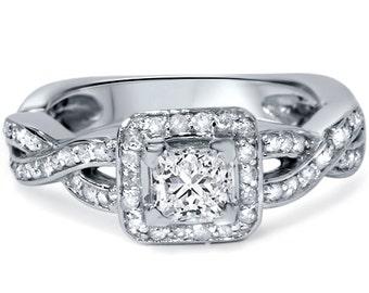 Princess Cut Halo Diamond Engagement Vintage Style Ring 1.15CT Princess Cut Halo Diamond Engagement Vintage Style Ring 14K White Gold