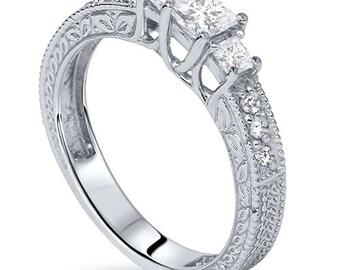Diamond 3/4CT Vintage 3 Stone Engagement Ring 14K White Gold