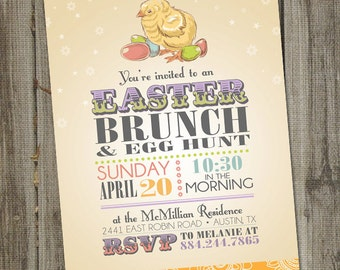 Easter Invitation, Vintage Easter Chick, Brunch and Egg Hunt, PRINTABLE Party Invitation, Spring Invitation, Easter Brunch, Easter Party