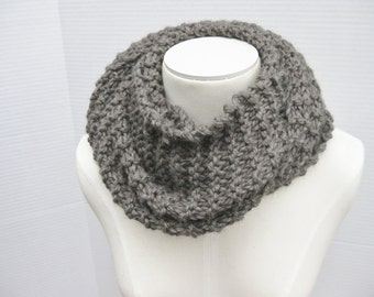 Wool long cowl charcoal grey hand knit