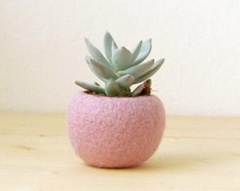 Felt succulent planter / felted bowl / Mini flower vase vase / sakura pink for spring / Easter decor