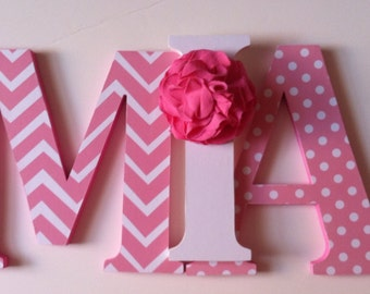 "Wooden letters  for nursery in pink  child's name 8 "" wall letters initial monogram"
