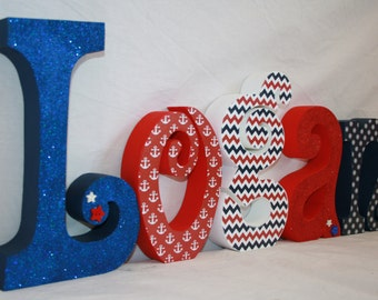 Nautical nursery, 5 letter set, Nautical room decor, Red and blue decor, Nursery name letters, Nautical room decor, Wood anchor sign