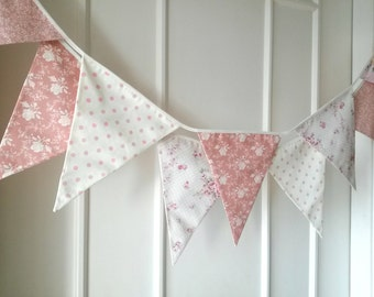 Pastel Shabby Chic Fabric Banners, Bunting, Garland, Wedding Bunting, Pennants, Flags - 3 yards (7th version)