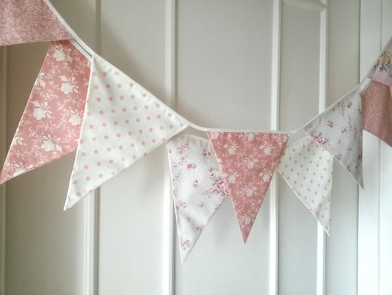 Pastel shabby chic fabric banners bunting garland by for Shabby chic garland lights
