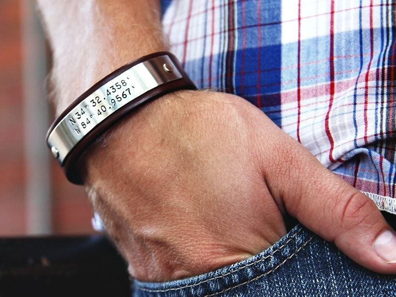 Custom Coordinates Mens Personalized Leather Bracelet
