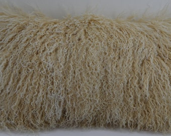 Mongolian tibetan Lamb Pillow beige 2 tone fur new made in usa authentic tibet cushion insert included