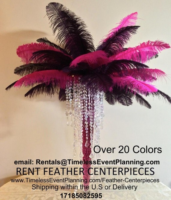 Hot pink ostrich feather centerpieces by hautepartyfavorscs