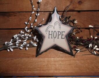 4 1/2 inch high Primitive wood Star HOPE Shelve Sitter Stressed