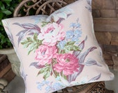 Antique French Blue Vintage 1930s Custom Barkcloth Decorative Throw Pillow with Pink English Cabbage Roses & Lavender Lilac Florals