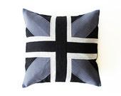 Linen decorative pillow by Lovely Home Idea. Union Jack dark