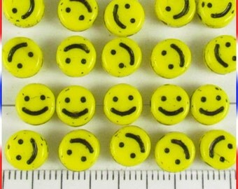 Happy Face Disc Beads 6mm Czech Glass - Yellow (12)