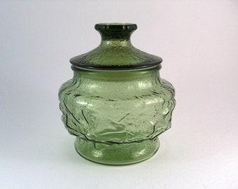 "Vintage Apothecary Jar Anchor Hocking ""Rain Flower"" Sealed Lid Avocado Green 6.5"""