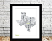 Texas Typography Map 8x10 Print
